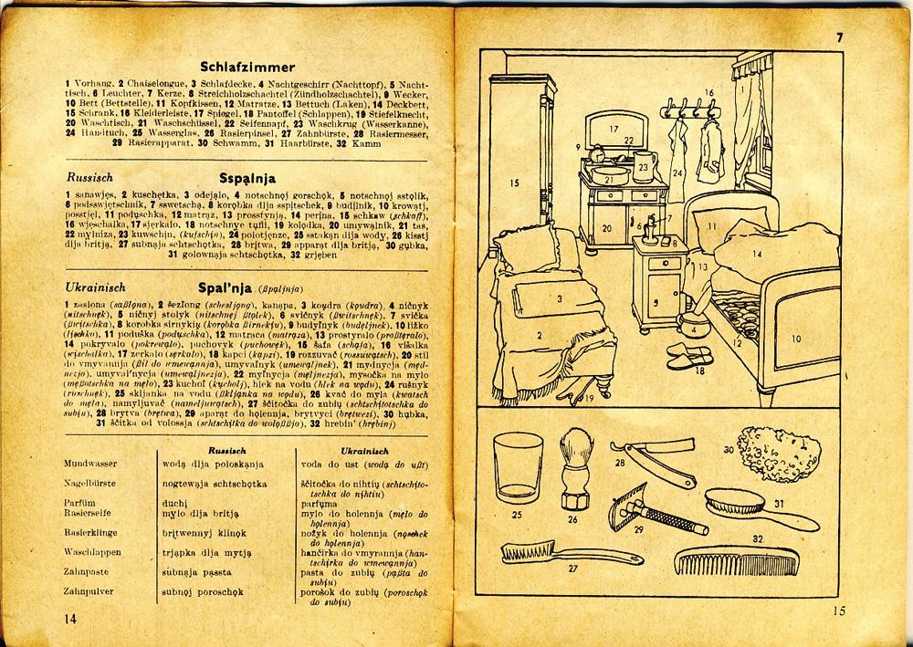 Немецкая хата 1940 года тапки, Иллюстрированный, кувшина, ознакомления, картинки, Спальня, ночным, горшком, рукомойником, кровати, подсвечником, косяки, кушеткой, дневного, лежания, тогда, назывались, ночные, переводчиков, также