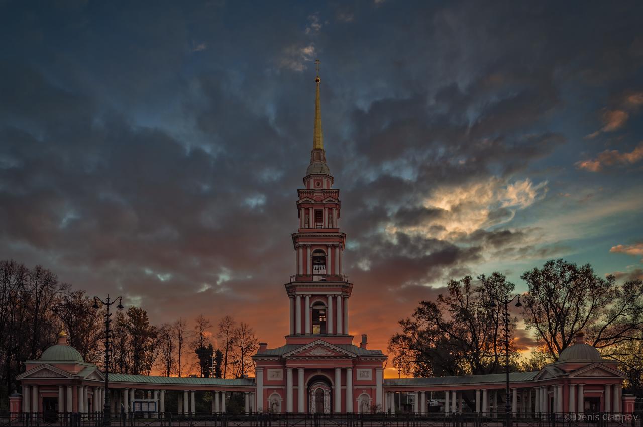 крестовоздвиженский казачий собор, колокольня, утро, осень, санкт-петербург, рассвет