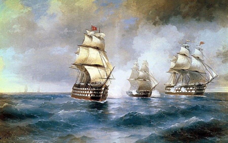 Удачный бой русского брига против двух турецких линейных кораблей