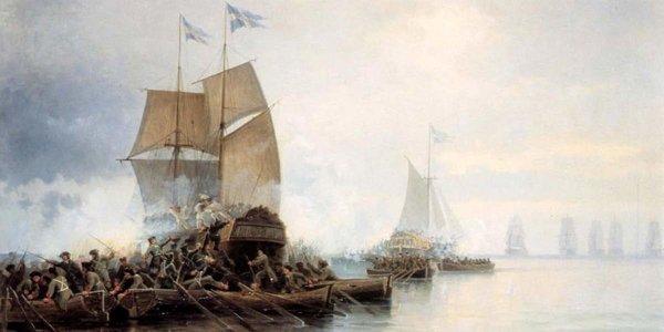 Как морпехи Петра I на лодках шведский корабль захватили