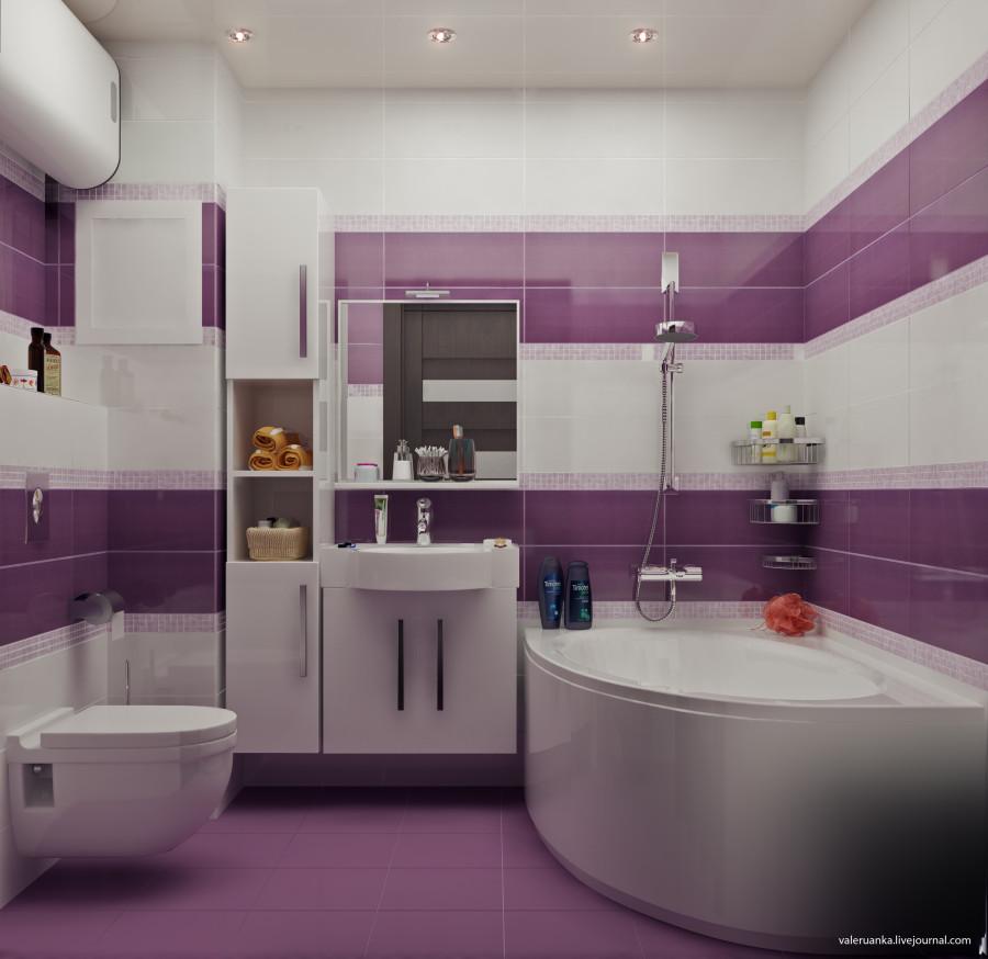 Дизайн ванной двух цветов