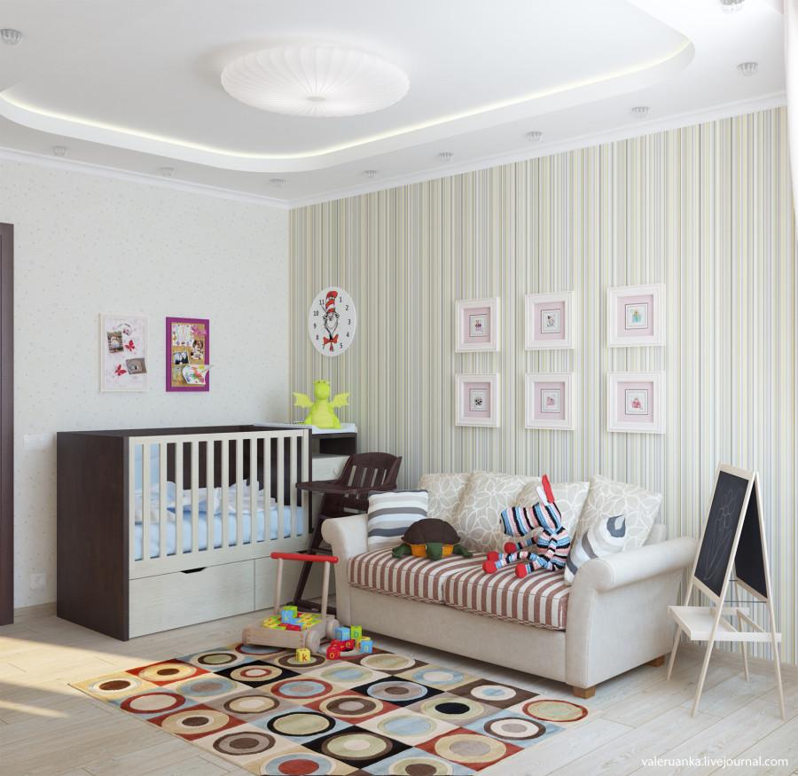 Дизайн комната с детской кроваткой