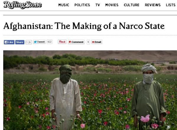Статья в «Роллинг стоун» — «После 13 лет войны мы не победили талибов, но мы сумели создать нацию, управляемую наркобаронами»