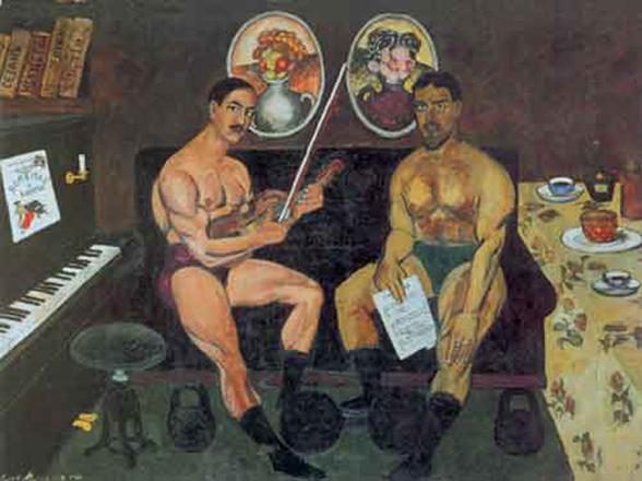 илья машков автопортрет с петром кончаловским 1910 об-во бубновый валет