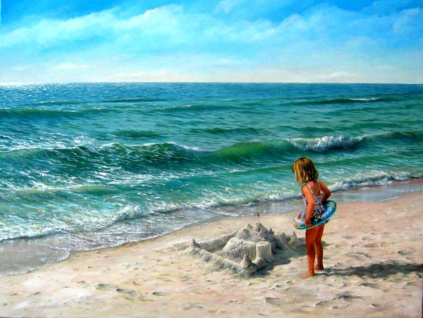 Рисунки человека у моря