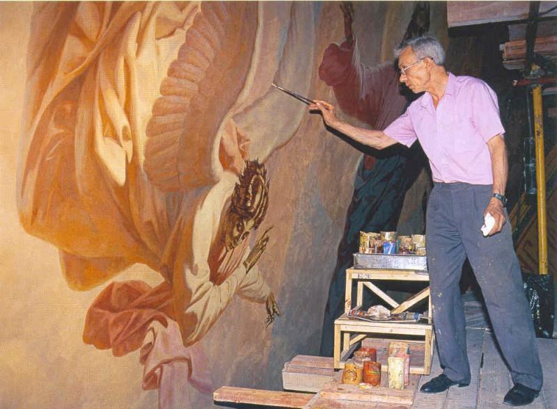 В.А. Бакшаев расписывает Храм Христа Спасителя.
