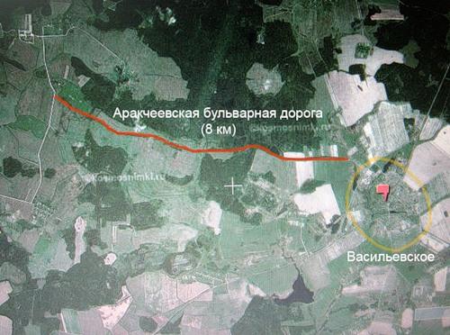 Аракчеевская бульварная дорога. Космоснимок.