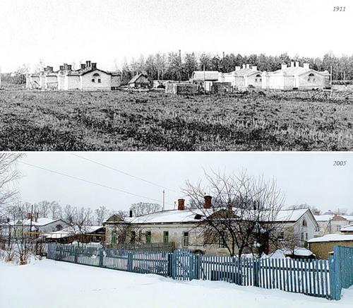 Особняки для медперсонала в посёлке Серёжино (с. Бонячки, 1911) - Первомайский посёлок (г. Вичуга, 2005)