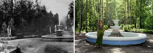 Фонтан в парке в 1930-е и в 2005 г.