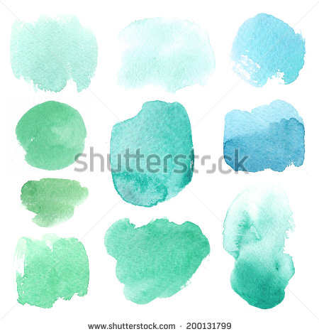 stock-photo-set-of-watercolor-stains-abstract-design-elements-on-a-white-background-blue-200131799