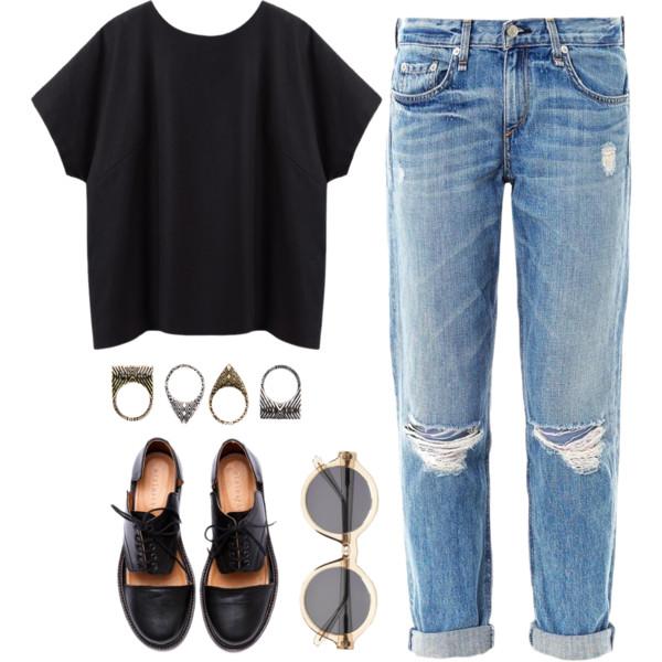 с рваными прямыми джинсами