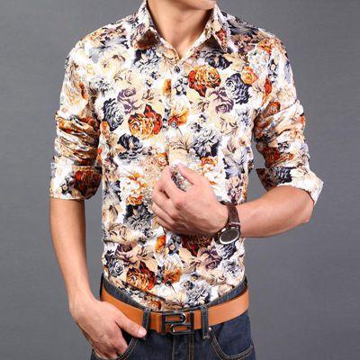 Uomini Di Modo Di Rosa Camicia Di Stampa Fiore Manica Lunga Stampa Shirt Per Uomo Casual Slim Fit Plus Size Xxl Camicie Abbigliamento Gi 2331
