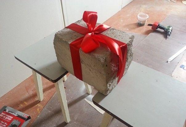 Блок пенобетона в подарок на свадьбу