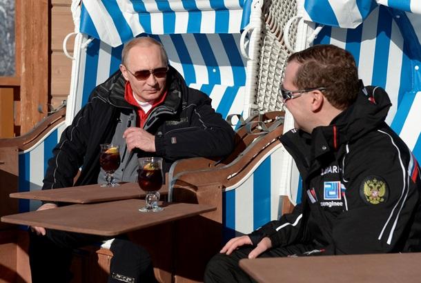 Путин и Медведв опробовали горнолыжные трассы олимпийского Сочи