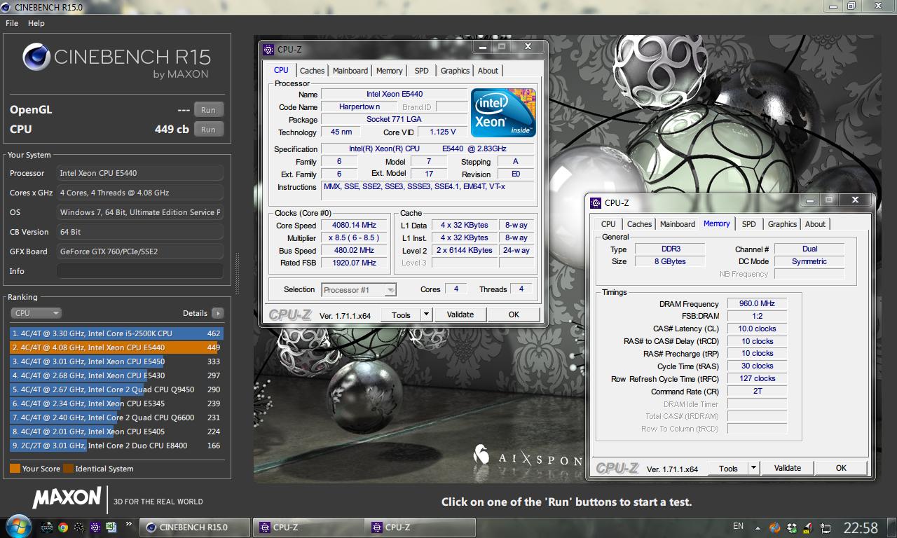 разгон процессора Xeon E5440