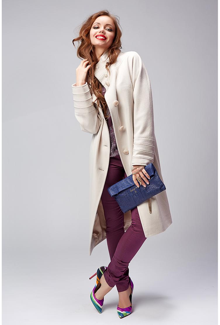 Элегантное прямое пальто молочного цвета ПокупкаЛюкс