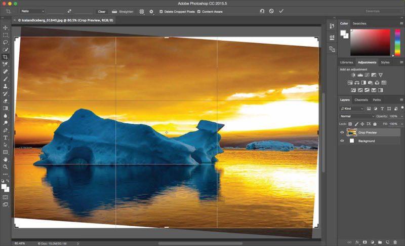 Умная обрезка изображения / Crop с учетом содержимого Photoshop CC 2015.5
