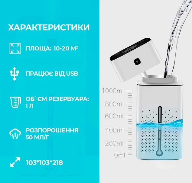 Увлажнитель воздуха для детской комнаты ультразвуковой USB на 1 л