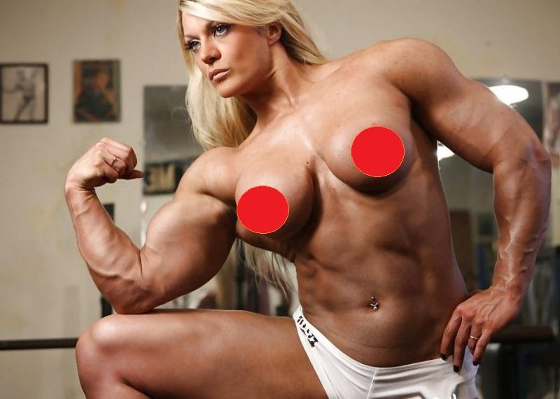 Big black female bodybuilder topless workout