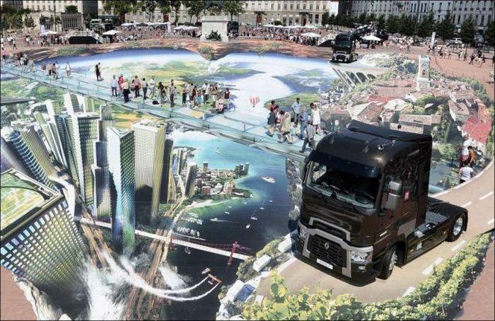 3D рисунок на асфальте в Лионе