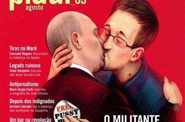 В бразильском журнале изобразили Путина, целующегося со Сноуденом...