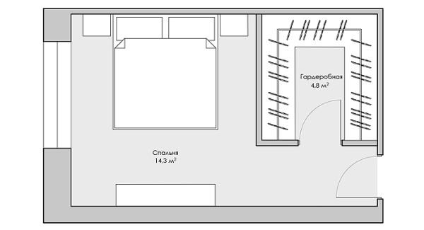Дизайн спальни 19 кв м с гардеробной