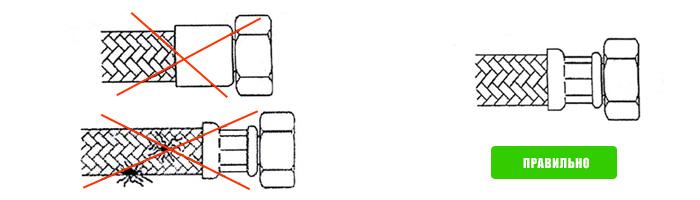 Перед монтажом необходимо произвести визуальный осмотр подводки