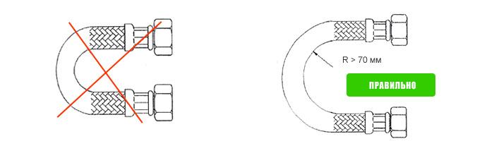 Минимальный радиус изгиба должен быть не меньше 70 мм