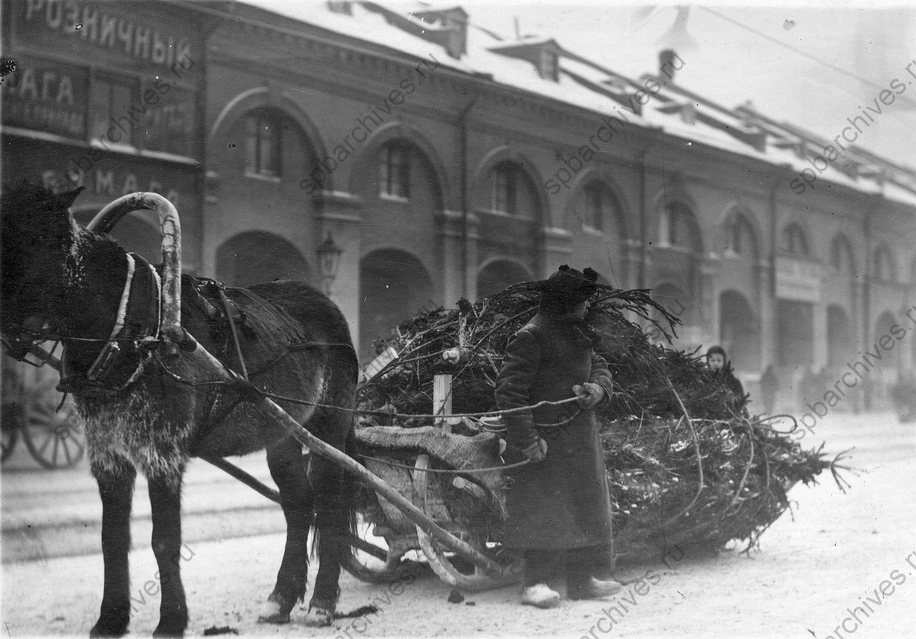1913. Воз с елками у Никольского рынка