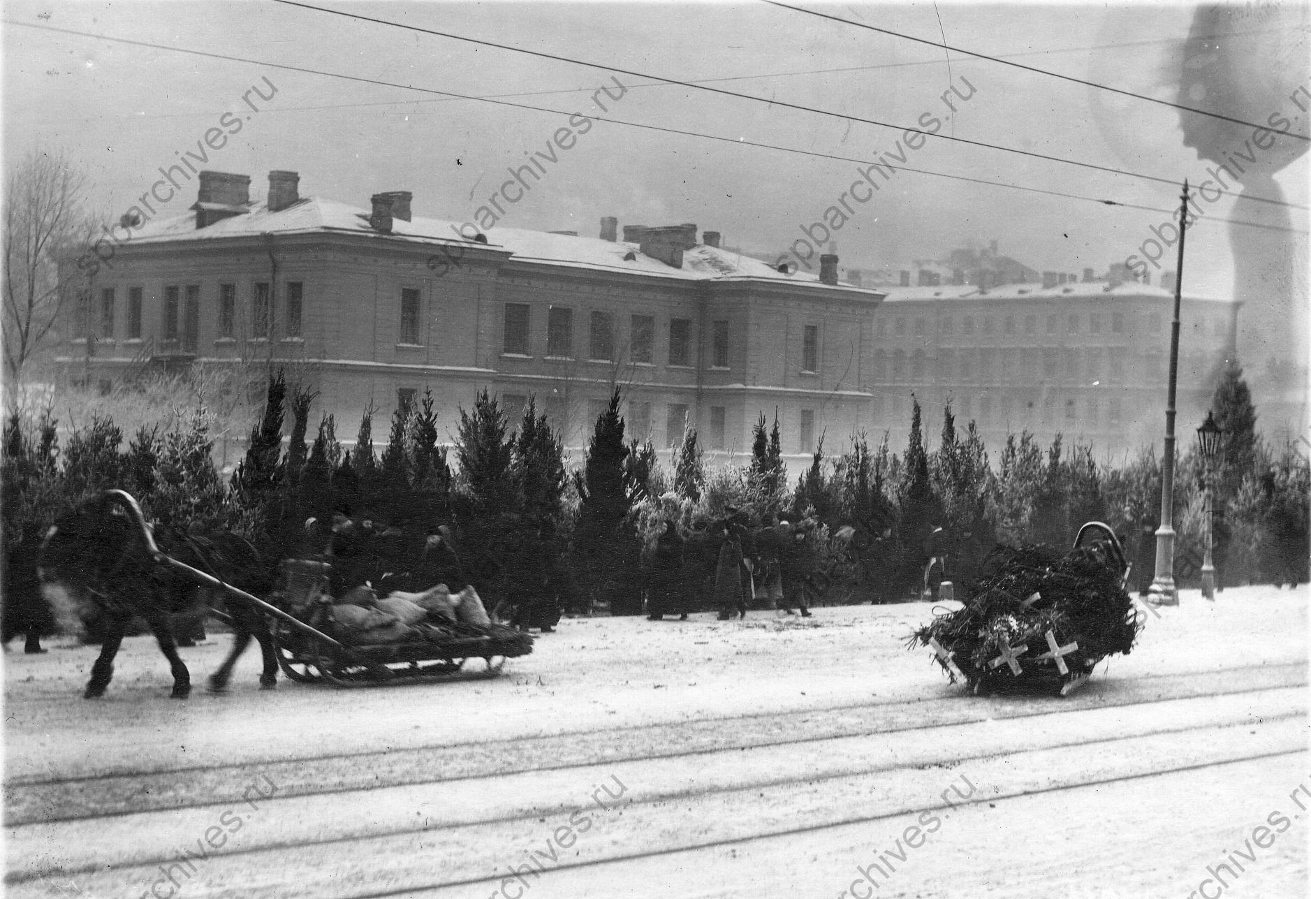 1913. Предпраздничный елочный базар