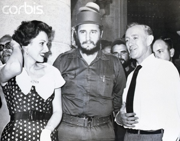Fidel Castro on Movie Set with Maureen O'Hara and Alec Guinness