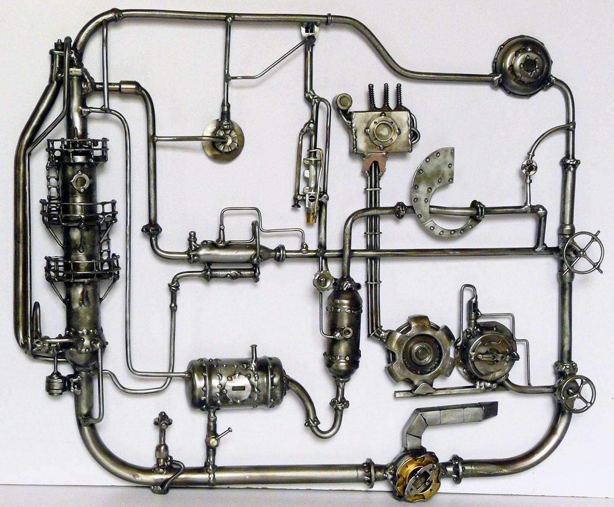 Настенное панно, изображающее схему транспортировки природного газа (трубопроводы, газохранилища, компрессор)...
