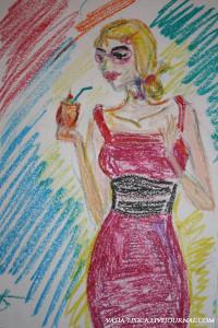 Рисунок девушки восковыми мелками
