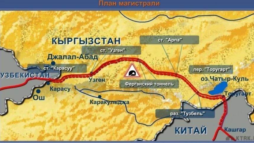Киргизский участок железной дороги из КНР через Узбекистан, Туркмению и Каспий в Азербайджан (Баку), начатый строительством в июле 2019 года, дублирующий уже построенную и эксплуатируемую автодорогу из КНР в республики Средней Азии до туркменской паромной переправы через Каспий в Азербайджан.