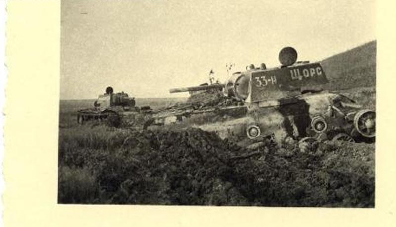 Танк КВ-1 33-Н 'Щорс' 262-го танкового полка прорыва под Белгородом в июле1943