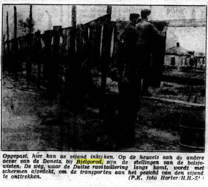 Het Volk 19-06-1943: Op de heuvels aan de andere oever van de Donetz bij Bjelgorod, zijn de stellingen van de bolsjewisten.