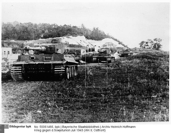Panzer Pz.Kpfw.VI = Tiger I; Vormarsch auf Belgorod = Bjelgorod; Juli 1943