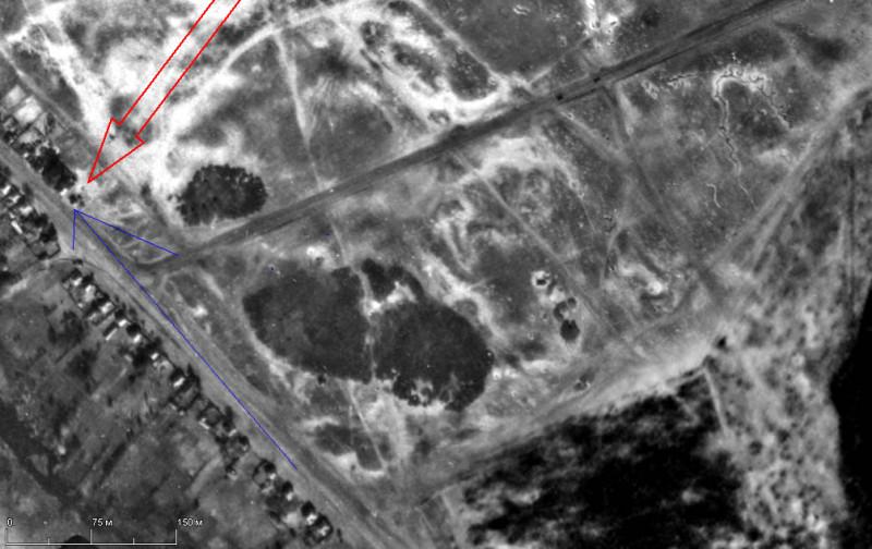 Место и направление съёмки боя Тигров на Михайловском плацдарме