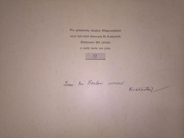4 antique prints Art, BELGOROD, RUSSIA, 1917 , Limited edition no.33 from 180 5 - Pro prislusniky skupiny Belgorodskych vyryl tyto ctyri drevoryty  M…