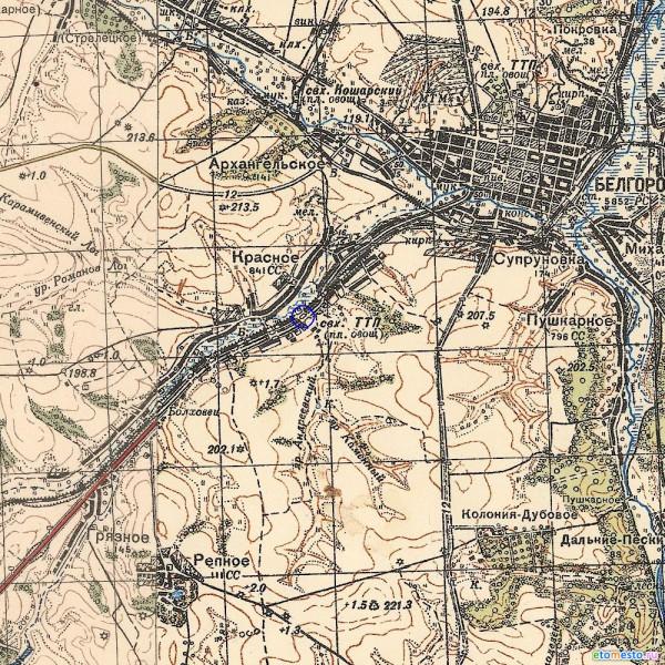 Деревянный мост по дороге на Белгород на карте РККА
