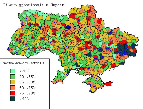 Уровень урбанизации в Украине на 2001 г