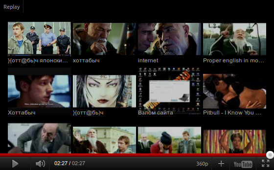 Youtube in html5 mode show list of recommended video