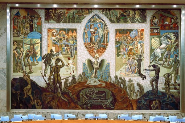 UN mural  Norwegian artist, Per Krohg, depicts a phoenix rising from ashes, symbolizing the resurgence of peace, equality and freedom. UN Photo Lois Conner