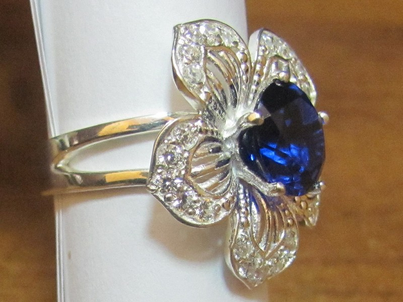 """Изготовление кольца из серебра с цирконием и синим камнем """"Турмалин"""""""