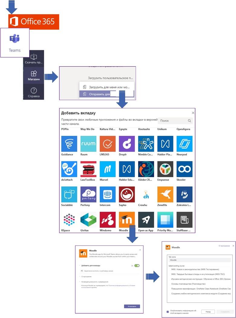 Установка приложения Moodle в Microsoft Teams