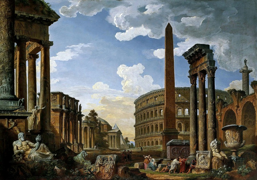 Джованни Паоло Паннини - Каприччо с важнейшими памятниками древнего Рима. 1735.jpg