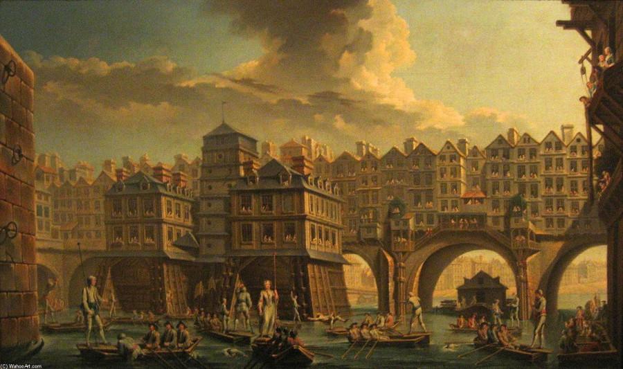 Николоа Жан Батист Рагне. Состязание лодочников на реке между меняльным мостом и мостом Нотр-дам (вид на меняльный мост) 1756.JPG