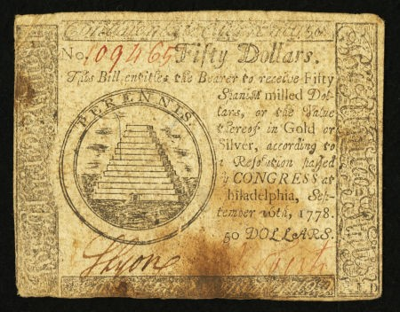 1778 USA $50 Continental currency note, drawn by Hopkinson2.jpg