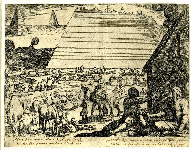 the pyramids of Egypt under construction, workmen rest in the foreground illustration credited to Antonia Tempesta; Plate 7 from Septem orbis admiranda (The Seven Wonders of the World), 1608.jpg