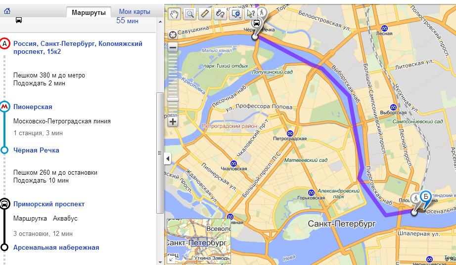 Маршрут маршрутки 5 на карте санкт-петербурга